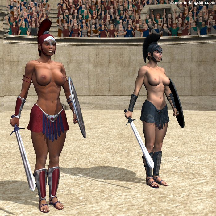 Nude female roman gladiators